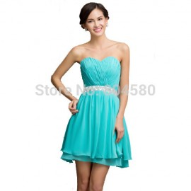 Hot Sale Rhinestone Crystal beaded A Line Short Cocktail dresses Fashion Graduation party Gown Strapless Formal dress  CL007534