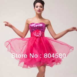 In Stock  Strapless Sequins Organza Cocktail Party Gown Short Prom Dress Red Formal Gowns CL6047