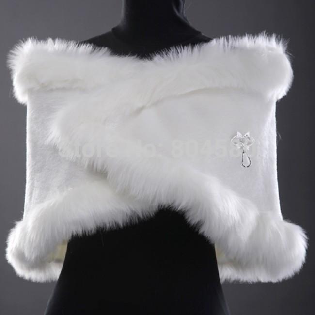 In Stock    Wedding Accessories women Warm Bridal Jacket Wrap Shawl White Faux fur Bolero CL2618