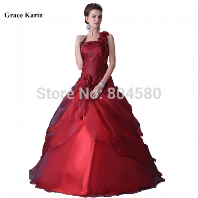 In StockHot sale Sexy Women Floor Length One Shoulder Long Ball Gown Red Wedding dresses Design Bridal Gown CL2514