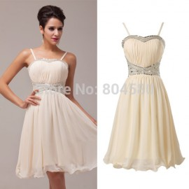 Ladies Sexy Spaghetti straps sequins Chiffon Short party Gown short Cocktail Party Dresses CL6017