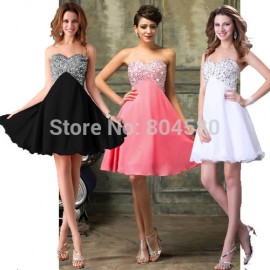 Luxury Chiffon robe de Cocktail Dresses Summer Graduation Party Gown Women Ball Homecoming Prom dress 2015 Knee Length D3140