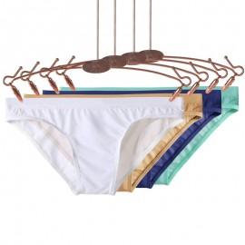 Men's briefs Sexy Low Waist Ice Silk underwear solid color underpants male Translucent Bikini Skinny Breathable Briefs