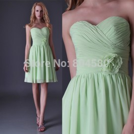 Mint Green Strapless Knee Length Chiffon prom Gowns Wedding Party dress  Bridesmaid dresses Short Women Summer Gown CL3476