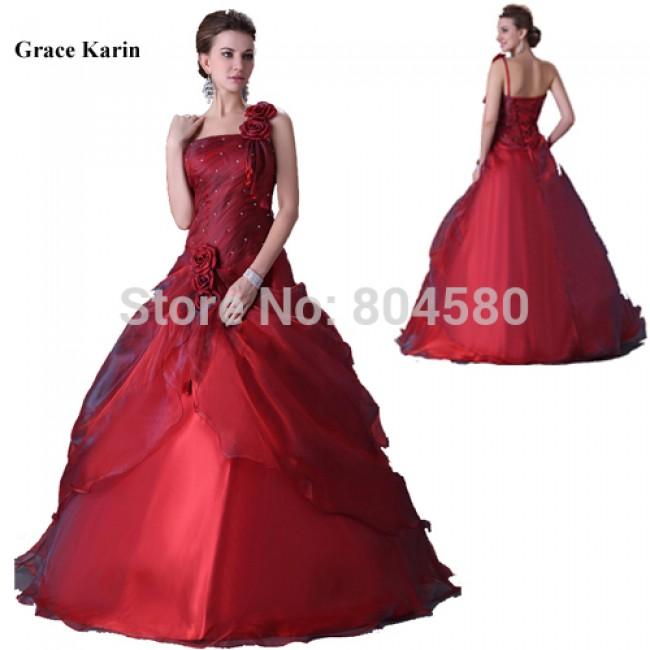Fashion Women One Shoulder Wedding dresses Red Floor Length Bandage Party Gown Bridal Dress CL2514