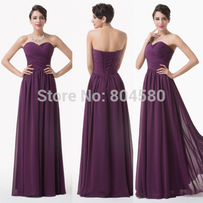 Design Special Occasion Formal Party Gowns Floor Length Chiffon Long Bandage Prom dress Purple Bridesmaid dresses CL6273