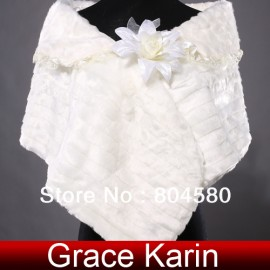 Ivory Warm Faux Fur Wedding Bride Wrap Shawl Cape Tippet Bridal Jacket Coat Accessories CL4941