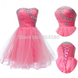 sexy Sleeveless Knee-Length Beading Formal Prom Dresses Short Evening Party Ball Gown Homecoming dress Lace up back CL4503
