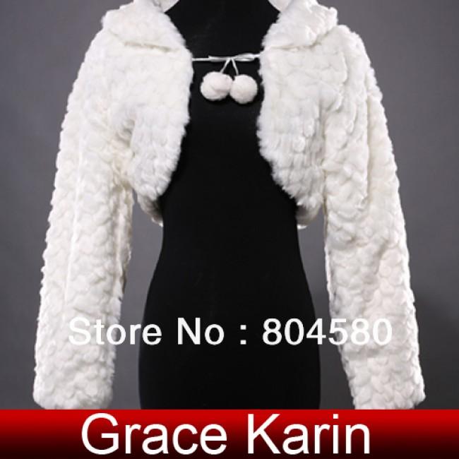 Fashion Bridal shawl Wedding dress Wraps Warm Jacket Coat Long sleeve Fur bolero For Winter CL4944