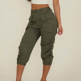 Pants Women Pleated Ladies Cropped Capri Pants Casual Summer Solid Tapered Trousers Calf-length Military