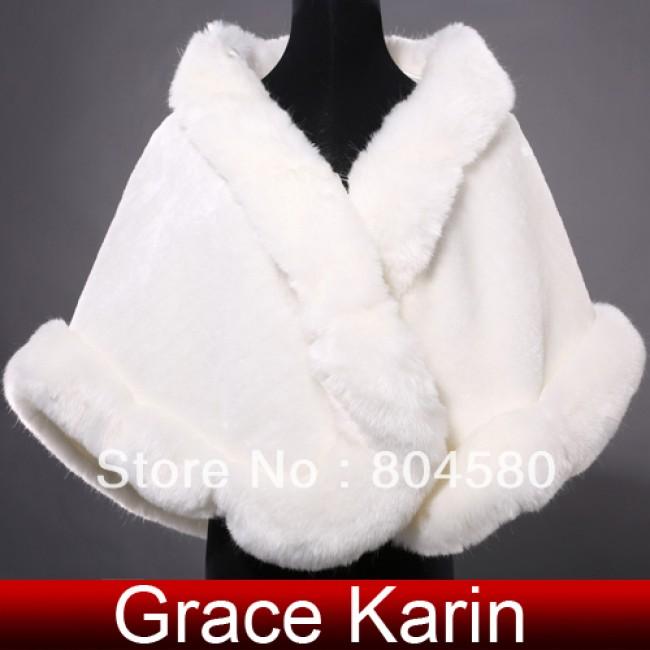 Retail Fashion Warm Faux Fur Ivory Bolero Wedding Wrap Shawl Bridal Jacket Coat Tippet Accessories CL4943
