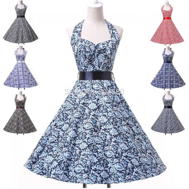 Retail/Wholesale   Fashion Halter Cotton Women 50s 60s Swing Polka Dress Vintage Rockabilly Retro Dress CL6095