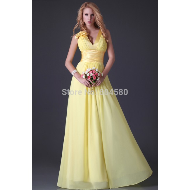 Sexy Stock Strapless V-neck design flower Chiffon Party Gown Floor Length Prom Dress Long Formal evening dresses Women CL3462