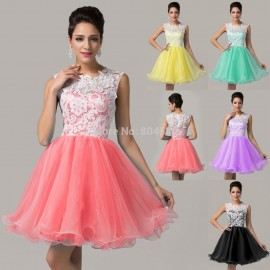 Sexy Green Blue Purple Yellow Red Knee length Party Ball Gown Formal Homecoming dress Short Cocktail dresses Lace Women CL6123