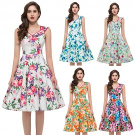 Summer Style Women Sleeveless Casual Flower Pattern Floral Print Dress Retro Swing 50s Women Party Beach Vintage dresses Gown