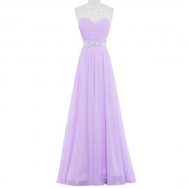 Vestido Lilas Purple Pink Long Bridesmaid Dresses Adult Party Dress Lilac Chiffon Bead Floor length 2016 Wedding Prom Gown 6112