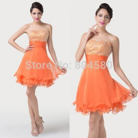 Wholesale Brand  Sexy Summer Women Short Cocktail Party Dress Orange Knee Length Formal Prom dresses Beading Plus Size CL6196