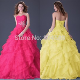 Wholesale  Floor Length Chiffon Evening Dress Formal Dresses Long Ball Gown Sweetheart Blue Red Yellow Party Gown CL3411