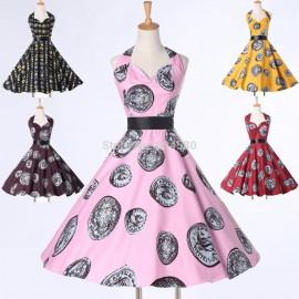 Wholesale Grace Karin Mid Calf 50s 60s Style Women Retro Vintage dress Dance party Gown Short Novelty Rockability dresses CL6292