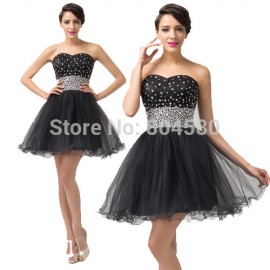 Women Summer Tutu Party Ball Gown Black Crystal Prom dress 2015 Casual Cocktail dresses Short Homecoming Gowns 6160