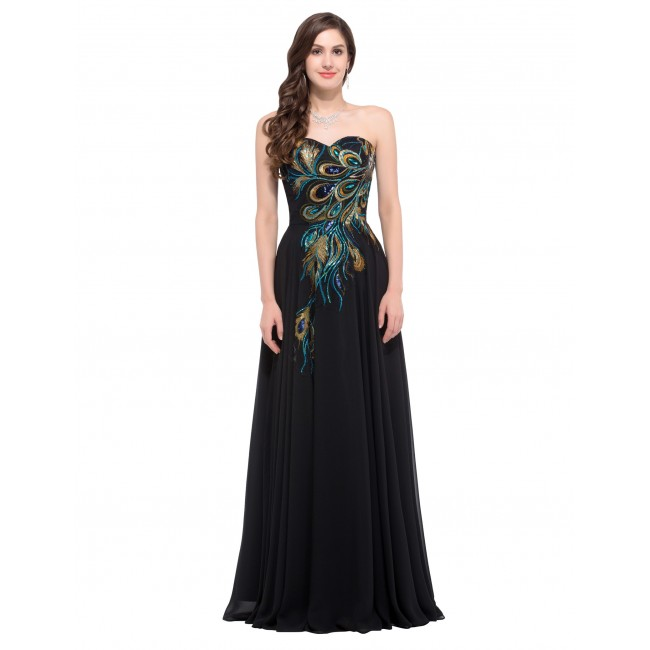 Women's Chiffon Long Maxi Floral Dress Vintage Long Party Dress Strapless Sweetheart Formal Maxi Dress