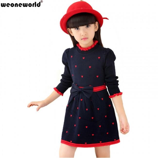 WEONEWORLD 2018 New Kids Sweater Dress Spring Autumn Winter Girls Long Warm Fashion Princess Dress Bow Toddler Girls Clothes