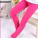 WEONEWORLD 2018 Summer Baby Girl Pants Elastic Waist Cotton Candy Color Kids Pencil Pants Causal Jeans Long Solid Girl Leggings