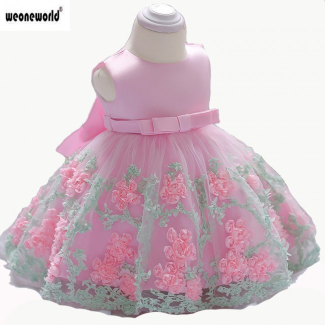 WEONEWORLD Baby Girl Dress 2018 Summer  Kids Dresses for Girls Flower Birthday Party Princess Dress  Baby Girl Clothes