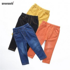 WEONEWORLD Boys Girls jeans pants spring Autumn 2018 children's clothing Kids Knitted jeans Soft trousers casual Baby pants