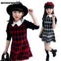 WEONEWORLD Fashion Girls Dress 2018 Autumn Winter Long Sleeve Plaid Baby Kids Clothes Sweater Princess Kids Dresses for Girls