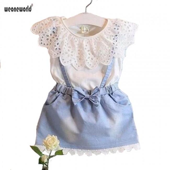 WEONEWORLD Baby Girl Dress 2018 New girls dress,white belt denim dress casual cotton summer kids dress cute girls clothes