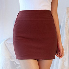 A-Line Casual Sexy Slim Fit Tight Pencil Womens Ladies Solid Color Cotton Simple Skirt Casaul Short High Waist