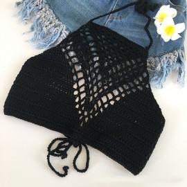 Summer Crochet Knitting Halter Top Solid Color Wrapped Women Bikini Bra Tank Beachwear Sex Bralette Hot Pro New Top