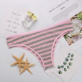 Women Cotton Comfortable Striped Briefs Sexy Low Waist Underwear Sports Breathable Underwear