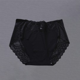 Women's Lace Panties Sexy Fashion Mid Waist Breathable ElasticTriangle hollow out Briefs solid color Breathable Briefs