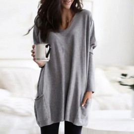 Women's Sweaters Ladies Pullovers Autumn Solid Casual Fashion Plus Size Pullover Autumn Winter V-Neck